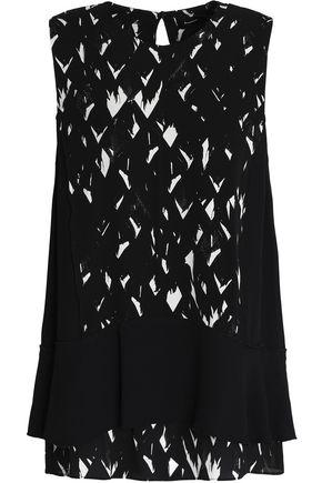 Proenza Schouler Woman Ruffled Printed Silk-chiffon Top Black