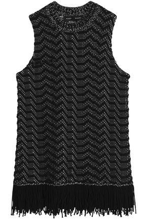 Proenza Schouler Woman Fringe-trimmed Jacquard-knit Cotton-blend Top Black