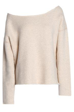 Mother Off-the-shoulder MÉlange Stretch-cotton Terry Sweatshirt In Ecru