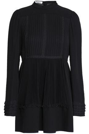 Valentino Woman Lace-trimmed Pleated Silk Blouse Black