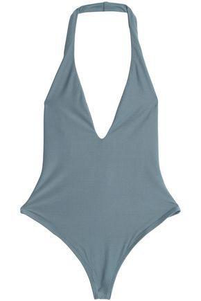 Alix Woman Stretch-knit Halterneck Bodysuit Gray