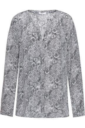 Joie Woman Purine Printed Washed-silk Top Gray