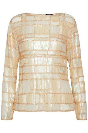 Raoul Bead And Sequin-embellished Mesh Top In Pastel Yellow