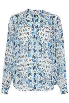 L Agence Woman Printed Silk Crepe De Chine Shirt Light Blue