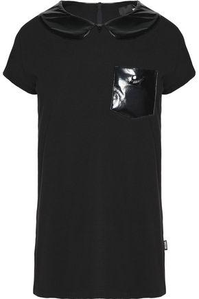 Love Moschino Woman Gloss Appliqued Stretch-cotton T-shirt Black