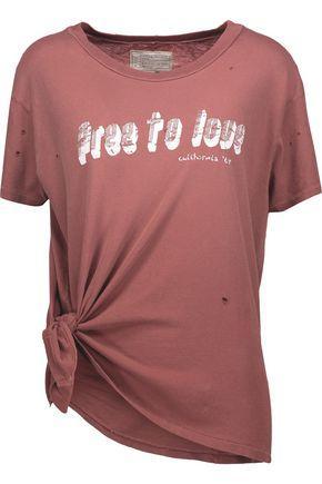 Current Elliott Woman Roadie Distressed Printed Cotton-jersey T-shirt Brick