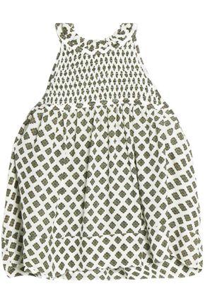 Cinq À Sept Woman Cropped Shirred Printed Silk Top Ivory