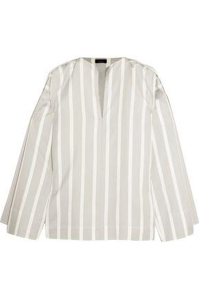 Joseph Woman Denver Striped Cotton And Silk-blend Blouse White