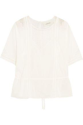 The Great Woman Manor Crochet-trimmed Cotton-voile Top White