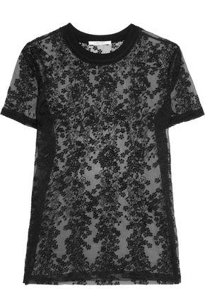 Carven Woman Embroidered Organza Top Black