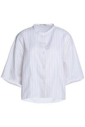 Acne Studios Woman Striped Cotton-poplin Shirt Beige