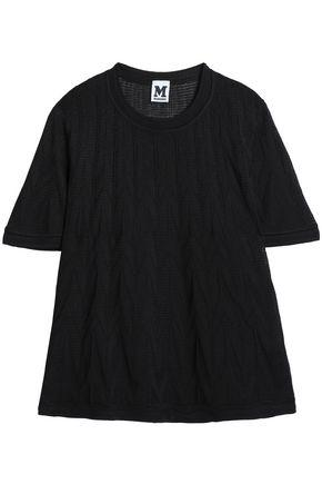 M Missoni Woman Jacquard-knit T-shirt Black