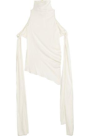 Ellery Woman The Lizzies Cold-shoulder Asymmetric Draped Silk-blend Top Ivory