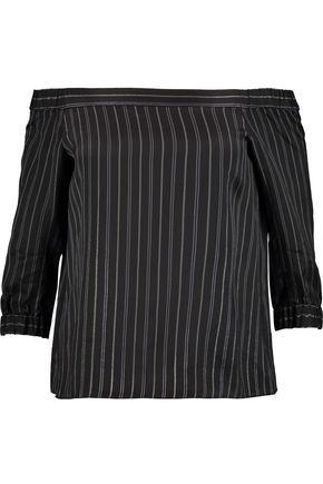 Tibi Woman Off-the-shoulder Striped Satin-twill Top Black
