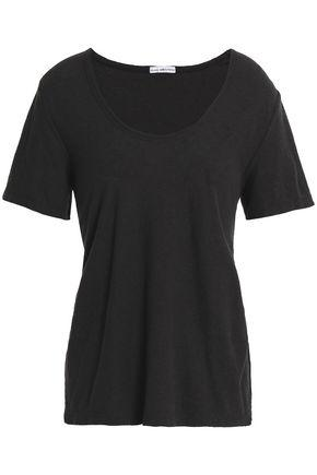 James Perse Woman Cotton And Linen-blend Jersey T-shirt Charcoal