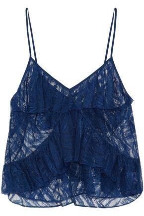 Michelle Mason Woman Ruffled Lace And Tulle Top Navy