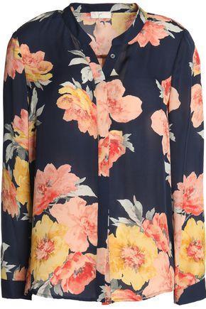 Joie Woman Floral-print Silk-georgette Blouse Blue