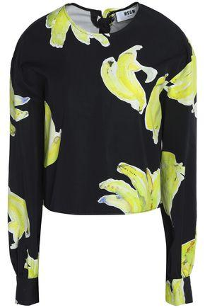 Msgm Woman Open-back Printed Cotton-crepe Top Black