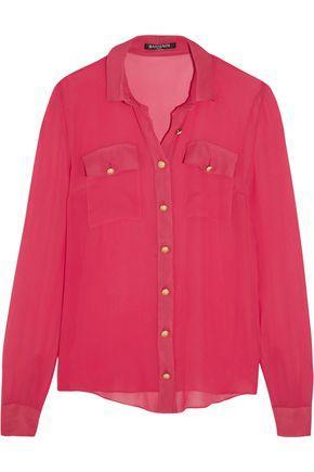 Balmain Woman Silk-chiffon Shirt Fuchsia