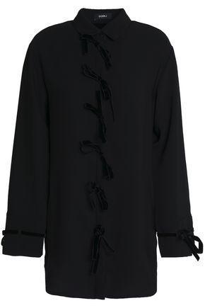 Goen J Velvet Bow-detailed Crepe Shirt In Black