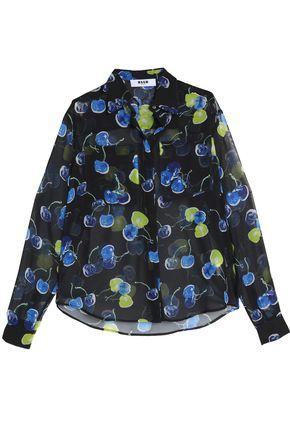 Msgm Woman Printed Georgette Shirt Black