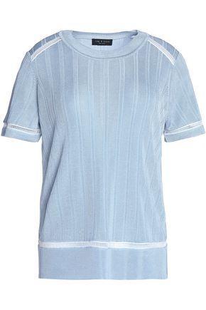 Rag & Bone Woman Open Knit-trimmed Ribbed-knit Top Sky Blue