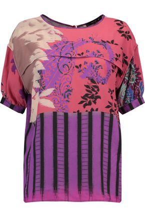 Etro Woman Printed Crepe De Chine Top Purple