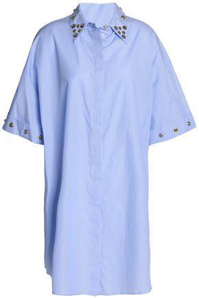 Mm6 Maison Margiela Woman Embellished Striped Cotton-poplin Shirt Azure