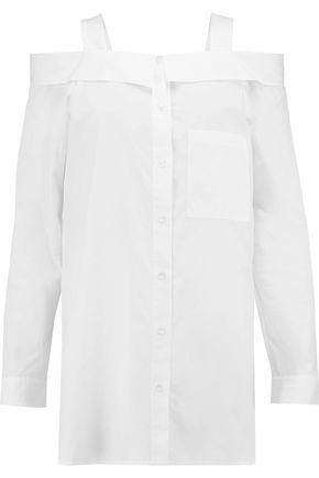 Robert Rodriguez Woman Cold-shoulder Cotton-poplin Shirt White