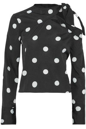W118 By Walter Baker Woman One-shoulder Knotted Printed Crepe De Chine Top Black