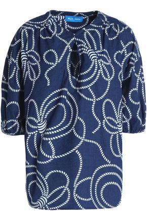 M.i.h Jeans Woman Printed Cotton-chambray Top Blue