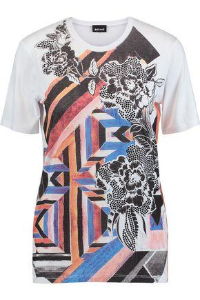 Just Cavalli Woman Printed Stretch-jersey T-shirt White