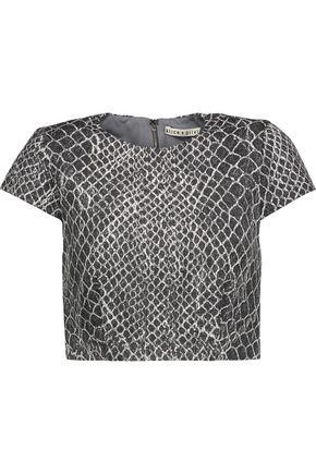 Alice And Olivia Alice + Olivia Woman Latisha Cropped Printed Woven Top Charcoal
