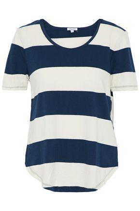 Splendid Woman Striped Cotton-jersey T-shirt Navy
