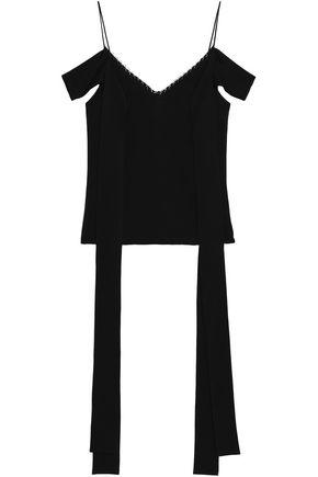 Ellery Woman Cold-shoulde Ring-embellished Crepe Top Black