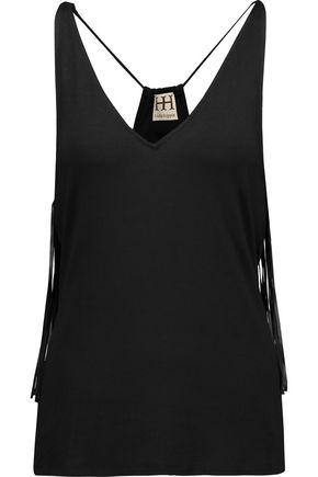 Haute Hippie Woman So Lets Go Dancing Faux Leather-trimmed Fringed Jersey Tank Black
