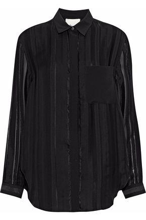3.1 Phillip Lim Woman Striped Fil CoupÉ Silk-blend Georgette Top Black