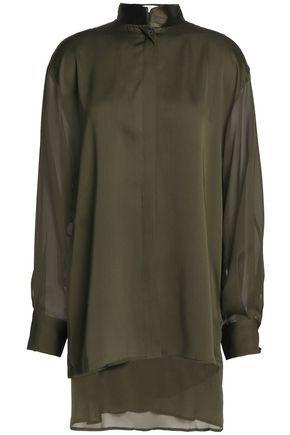 Amanda Wakeley Woman Chiffon-paneled Pleated Silk-satin Top Army Green