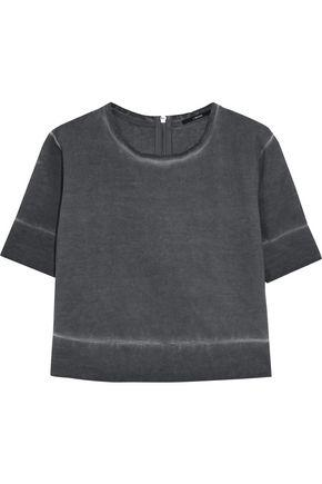 J Brand Woman Sanora Cropped DÉgradÉ Cotton Sweatshirt Anthracite