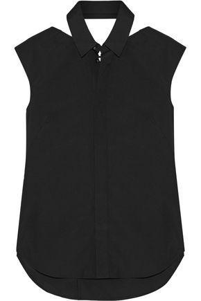 Facetasm Woman Velvet-trimmed Cutout Cotton-poplin Shirt Black