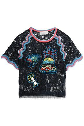 Peter Pilotto Woman Fringe-trimmed Embroidered Lace Top Navy
