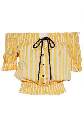 Caroline Constas Woman Peasant Off-the-shoulder Shirred Striped Cotton-poplin Top Yellow