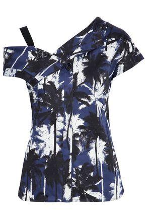 Jason Wu Woman Asymmetric Cold-shoulder Printed Cotton-sateen Top Navy