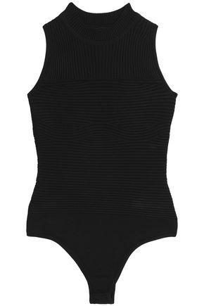 Cushnie Et Ochs Woman Paneled Ribbed And Stretch-knit Bodysuit Black