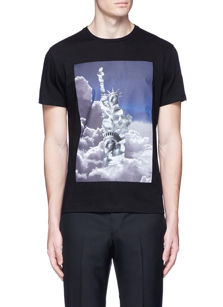 Neil Barrett 'liberty President' Print T-shirt In Black