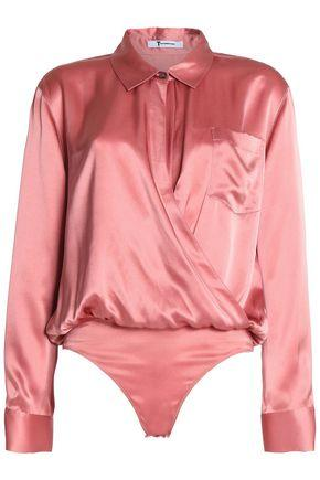 T By Alexander Wang Woman Wrap-effect Silk-satin Bodysuit Antique Rose