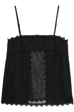 Just Cavalli Woman Mesh-paneled Lace-trimmed Woven Top Black