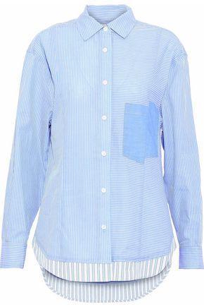 Derek Lam 10 Crosby Woman Paneled Striped Cotton-poplin Shirt Azure