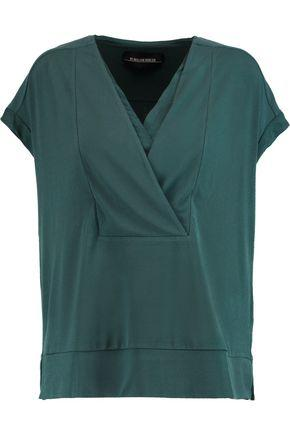 By Malene Birger Woman Washed Silk-trimmed Stretch-crepe Top Petrol