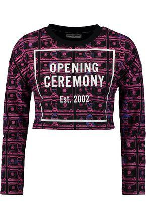 Opening Ceremony Woman Cropped Printed Cotton-terry Sweatshirt Violet